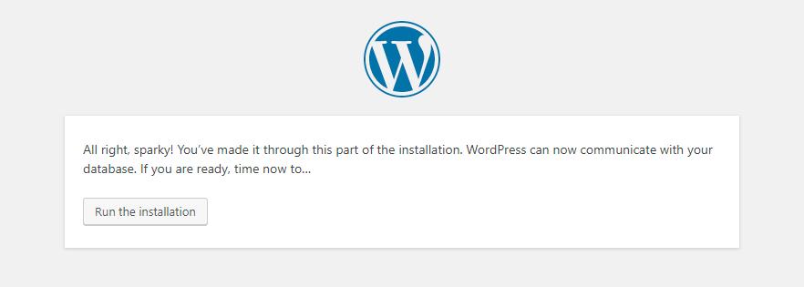 Run the wordpress installation to Install WordPress using VestaCP