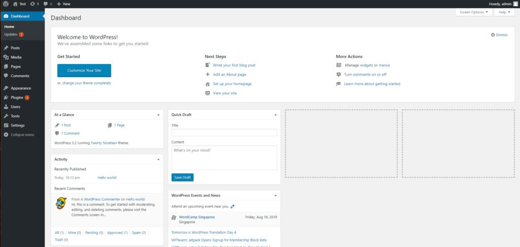 Install WordPress using VestaCP complete, view wordpress dashboard