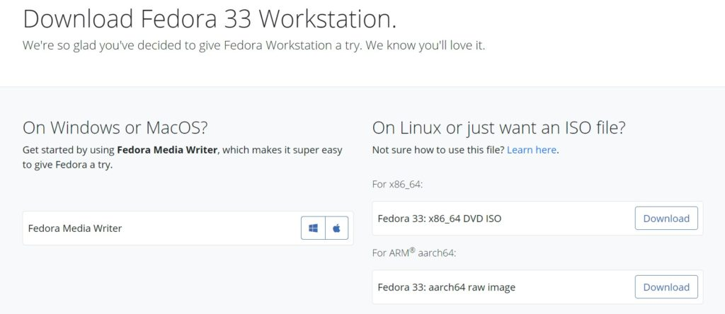How to install Fedora 33, first download an ISO