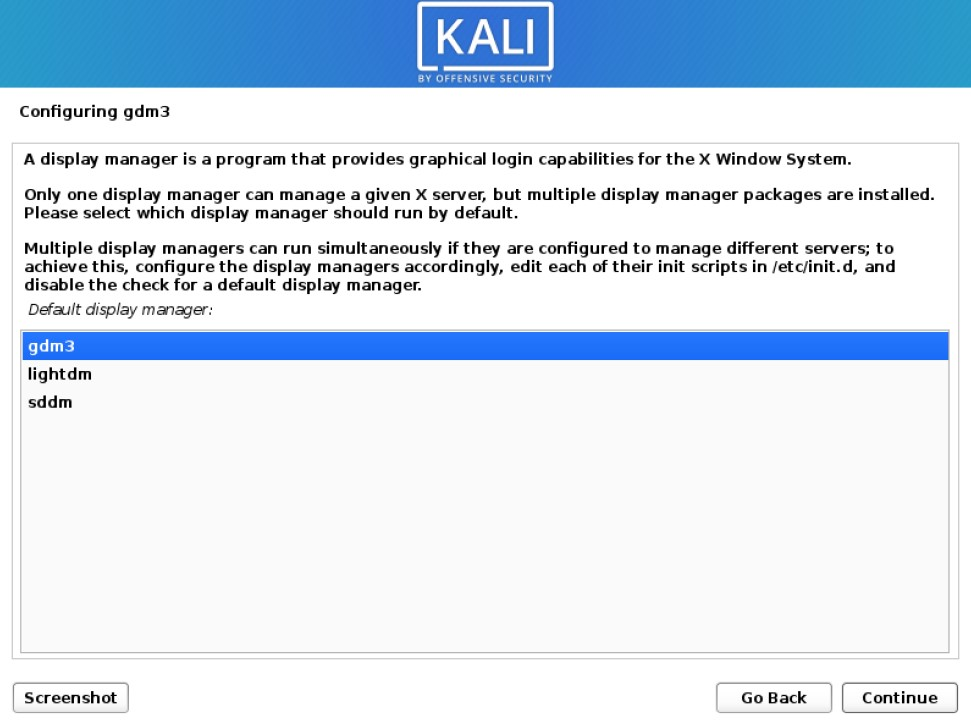 kali installer choose a display manager