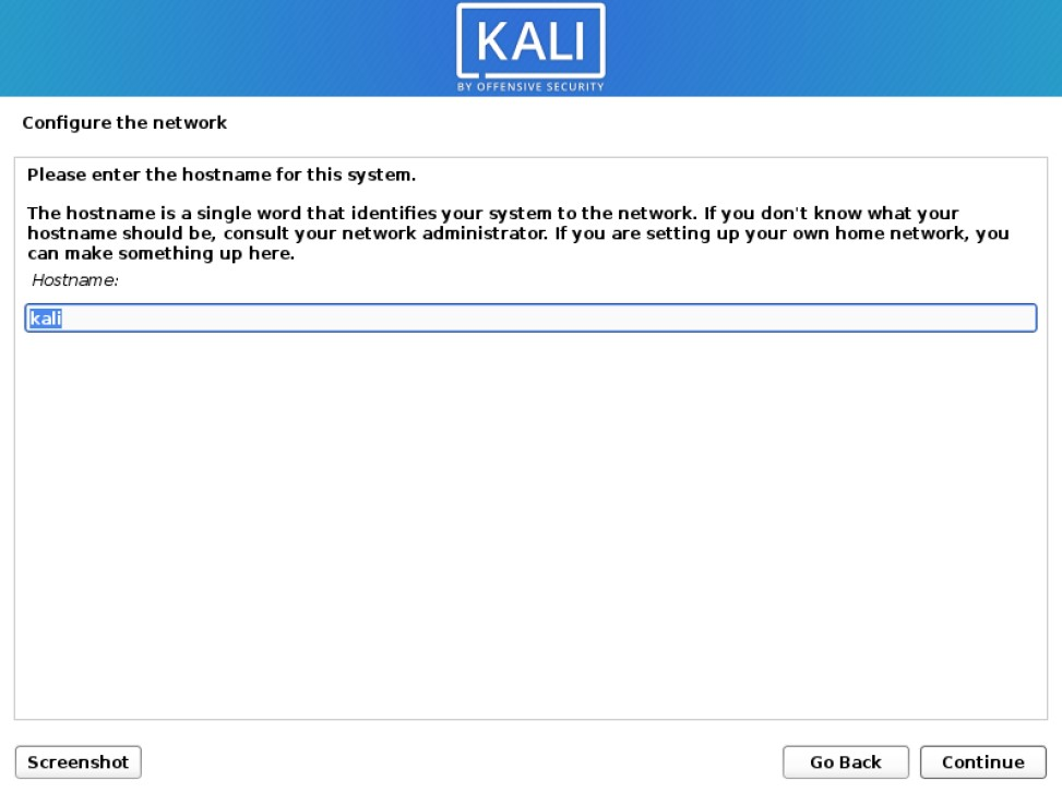 kali installer configure network