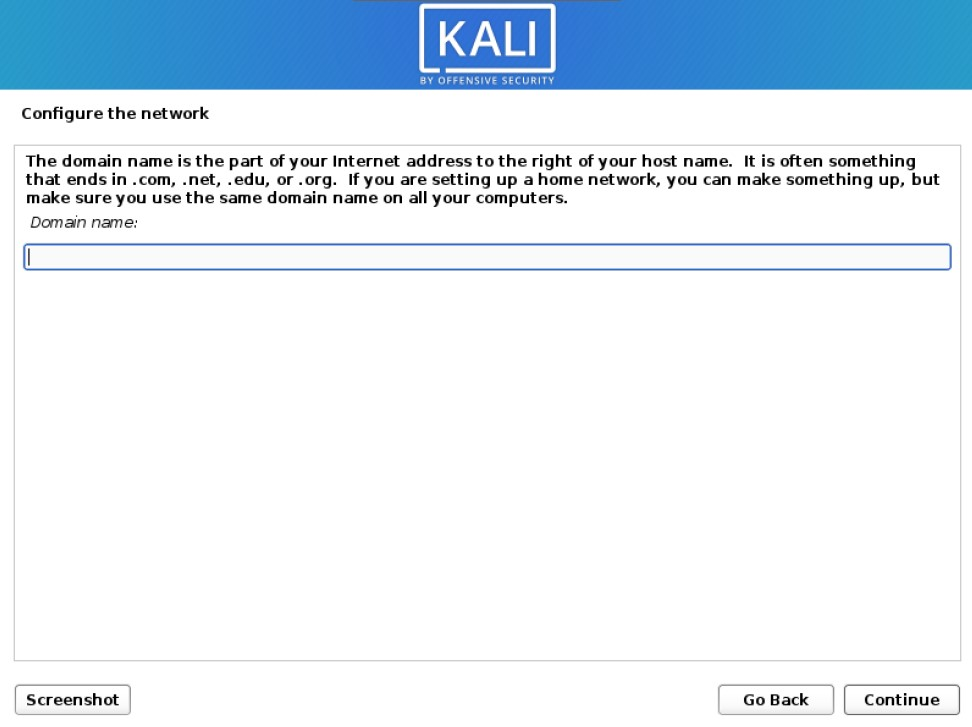 kali installer domain name