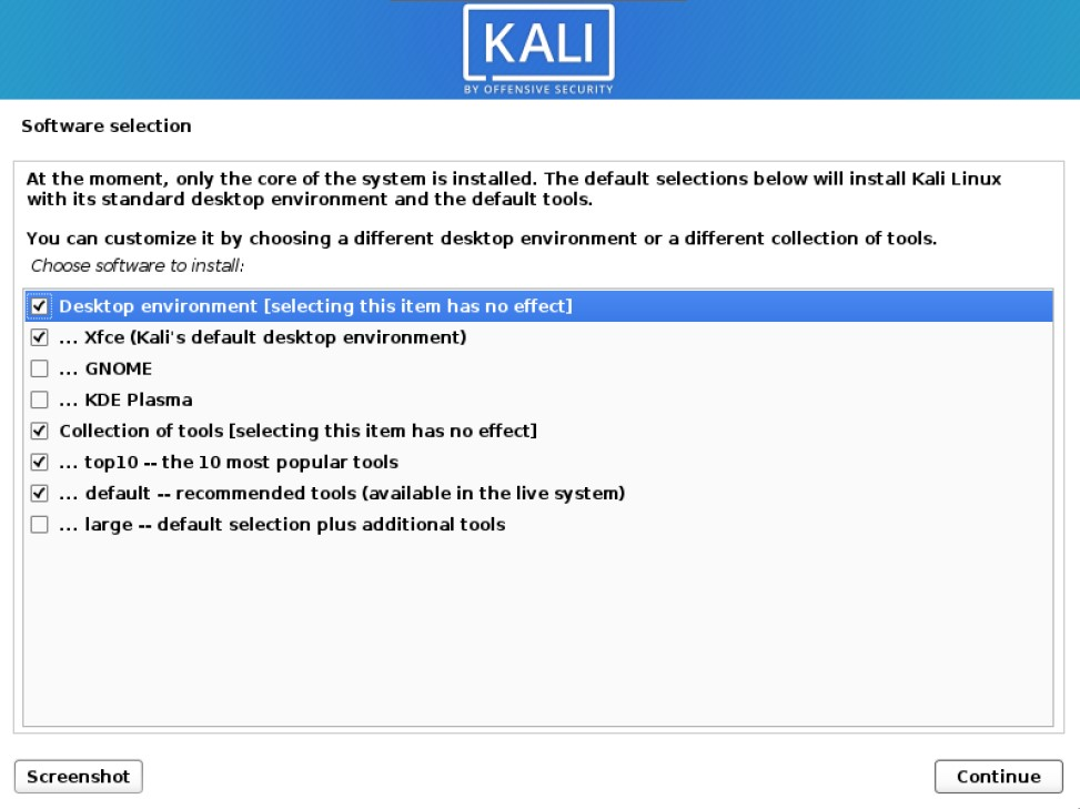 install kali linux software selection