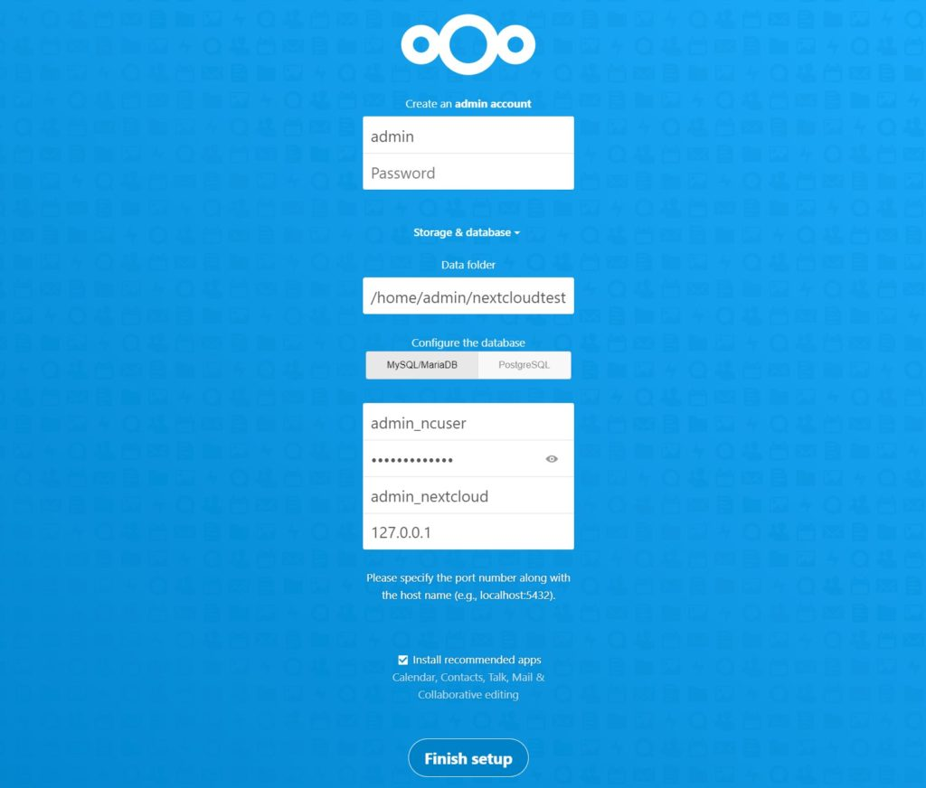 nextcloud admin account and database setup