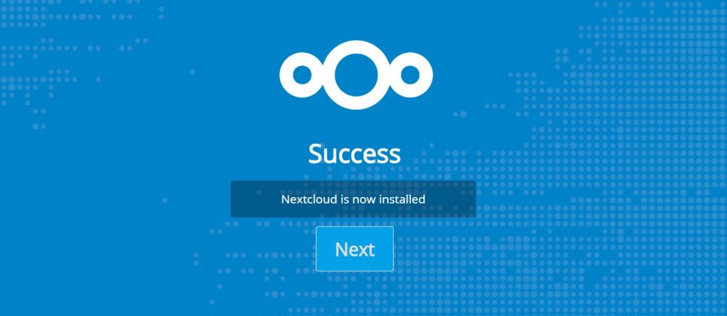 nextcloud is now installed