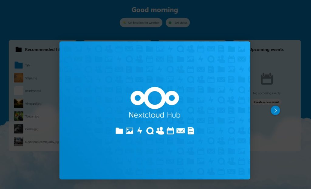 Install Nextcloud 20 with VestaCP: welcome screen