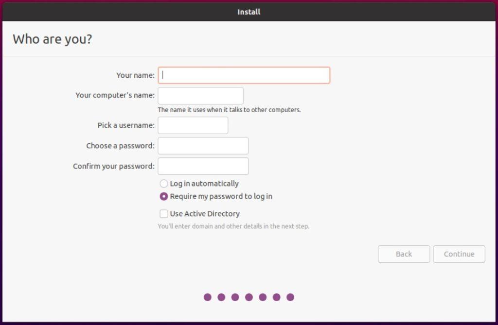 ubuntu installer setup user