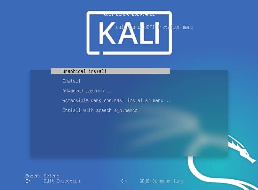 kali boot menu