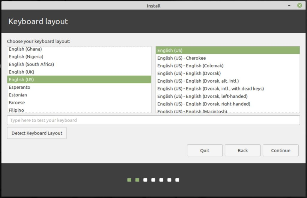how to install linux mint 20: keyboard layout