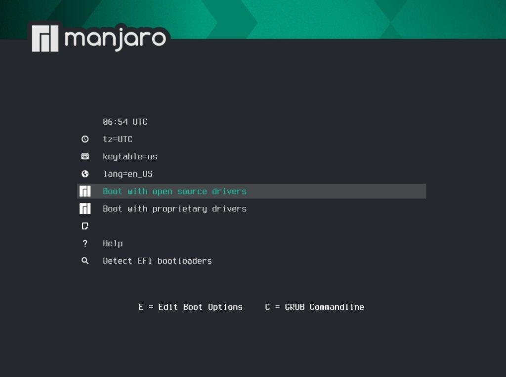 manjaro 20.2 installer boot menu