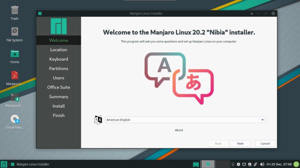 manjaro linux 20.2 nibia installer