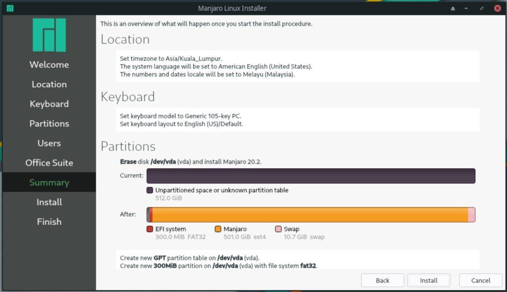 manjaro linux 20.2 nibia installer summary