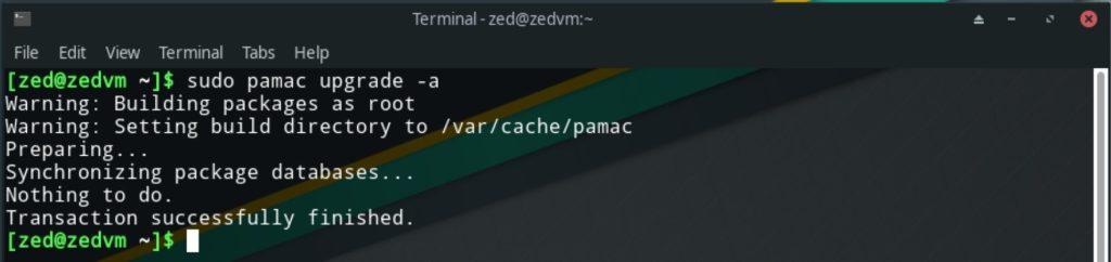manjaro terminal upgrade
