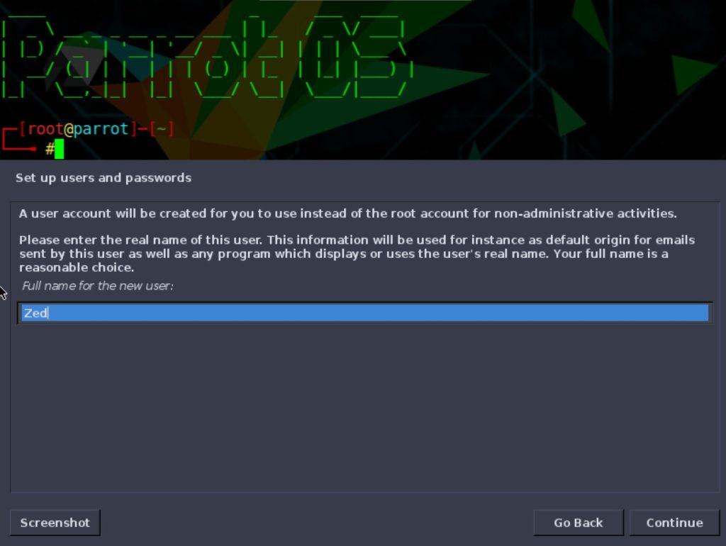 parrotos installer user accounts