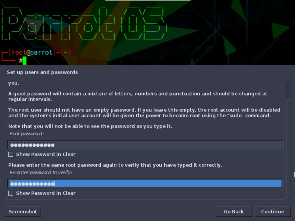 How to install ParrotOS 4.10 root password