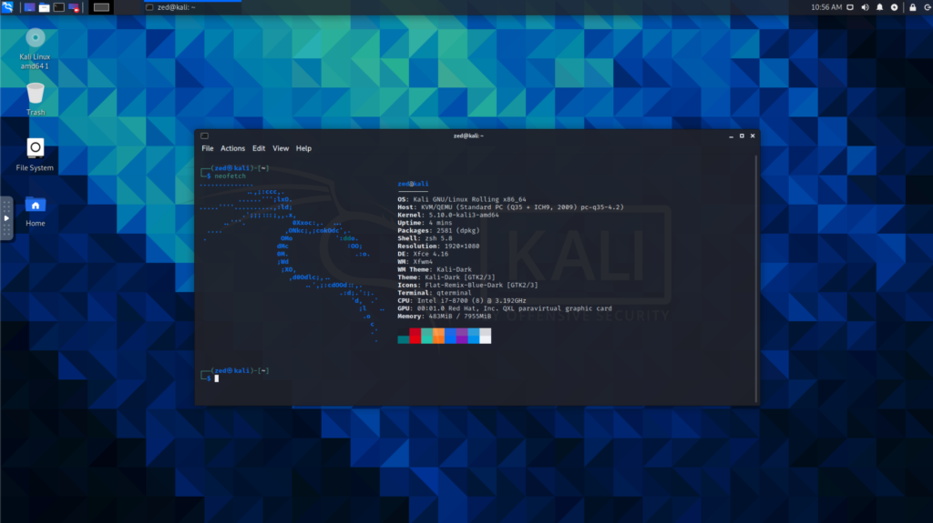 kali 2021.1 desktop