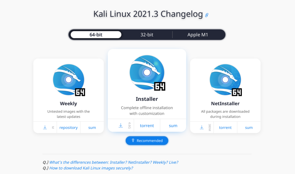 install kali linux 2021.3 download page
